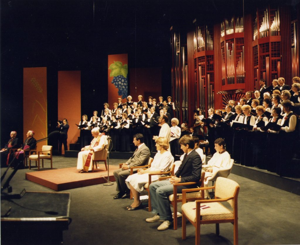 Murray Park Singers, directed by Cathy Weber, Adelaide Festival Theatre during the 1986 visit by Pope John Paul 2