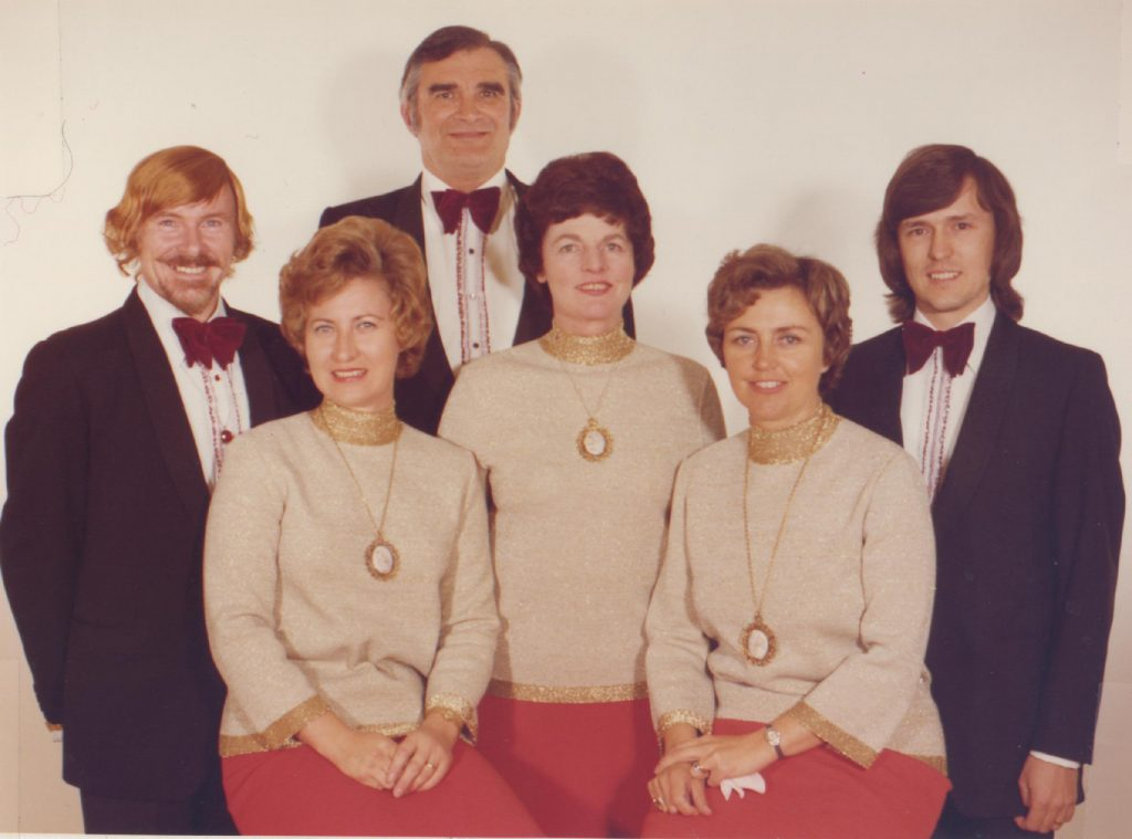 The Adelaide Consort of Singers, Malcolm Potter (Tenor), Cathy Weber (Soprano), Max Pearce (Bass), Norma Hunter (Contralto), and Genty Stevens (Soprano), with associate artist and accompanist David McSkimming